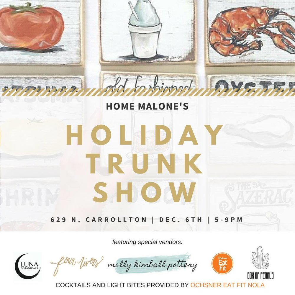 Gifts with LIFE! - Join us at Home Malone for a night of local art and local bites! We will be selling succulents, air plant wreaths, mounted staghorn ferns, house plants, and much more! Shop giftables from special vendors Molly Kimball, Luna Botanicals, Box of Pearls, and Four Rivers.... and enjoy fit cocktails and treats from our friends at Eat Fit NOLA and a few to-be-announced friends of theirs.