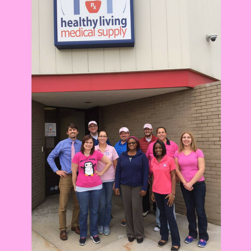 Healthy Living team members wearing pink for Breast Cancer Awareness Month as part of Customer Service Week 2016 festivities.
