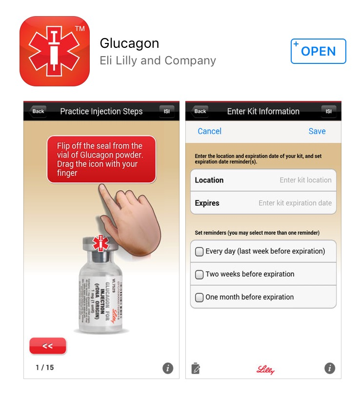 A view of the Lilly Glucagon app in the App Store.