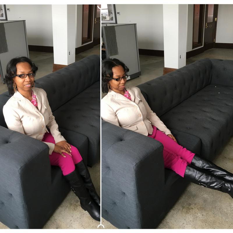 Leandra practices leg extensions.
