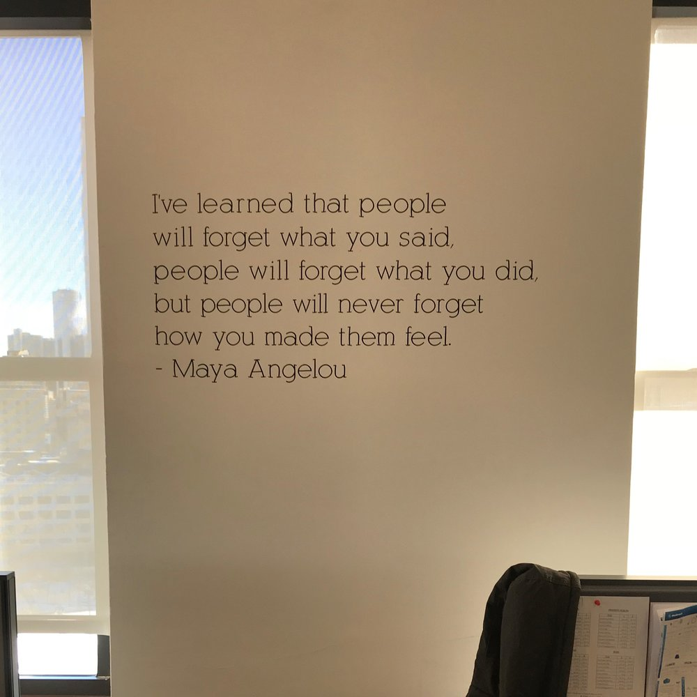 Newest quote on our office walls.