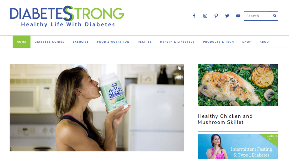 Today's Diabetes Strong homepage.