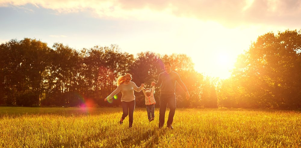 happy family with beautiful sky