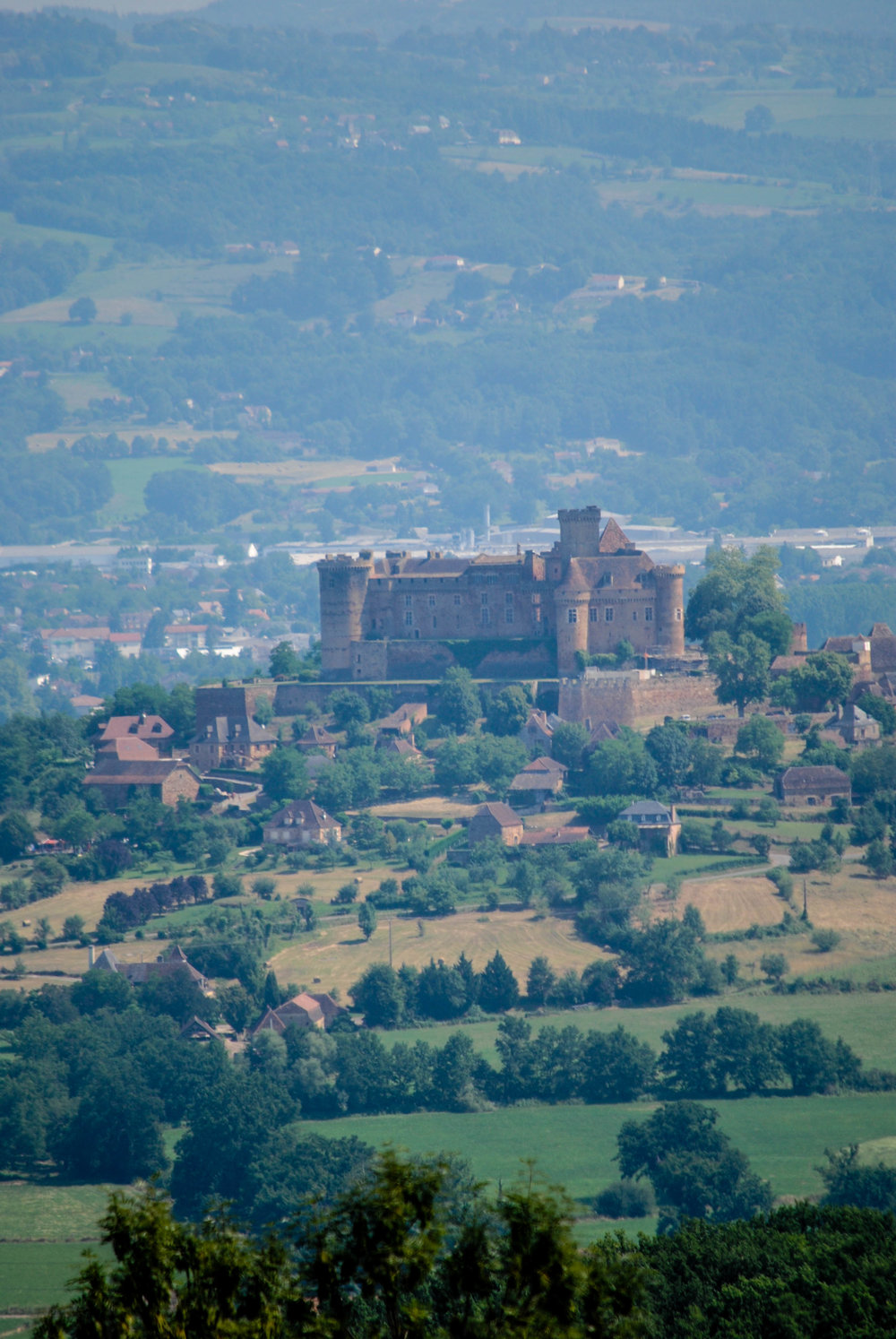 Hazy Sunshine View of Castelnau, Lot Valley, Dordogne, France