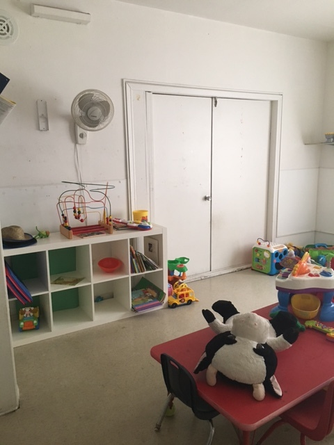 This is currently a storage room - and cow nap room - but will be turned into a teacher resource room and parent/teacher meeting space.