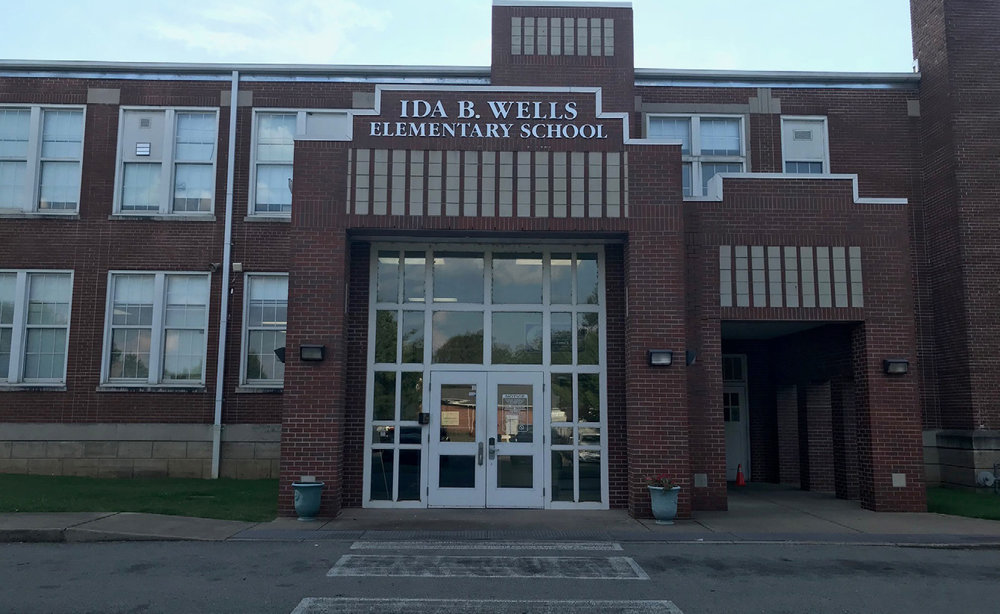 Photo of the front of Ida B. Wells elementary school