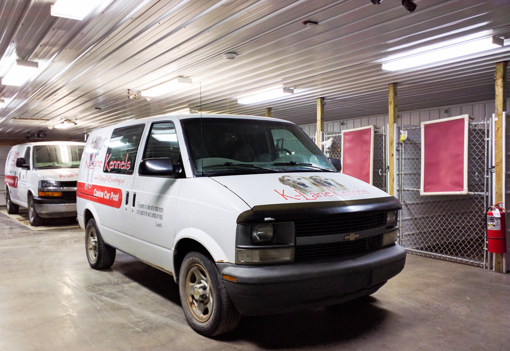 Our guests are loaded into and out of the van from right inside the kennel. This way they're always warm in the winter and cool in the summer, plus there is no run-away risk while being loaded.