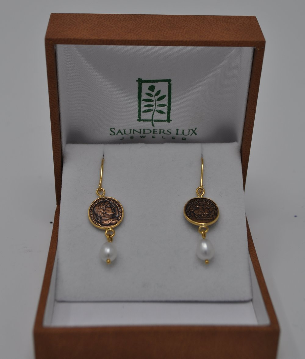 Earrings-Estate coin and freshwater pearl earrings retail $540.00