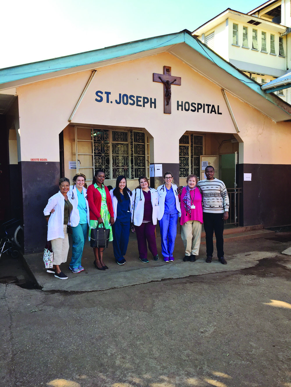 The WVSOM Team with Dr Geophrey Mboye at St. Joseph Hospital