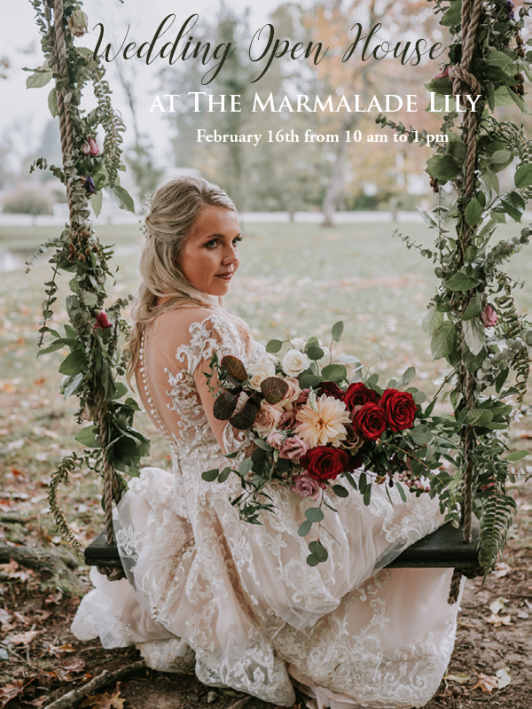 Join us for our Bridal Open House at The Marmalade Lily!  Come tour our venue, visit with our top performing vendors, and enjoy a warm drink from our hot cocoa bar. The Event Barn from 10 am-1 pm, complimentary admission  Scroll through to see our interview with vendors at the bottom of the page.  Vendors in Attendance & Special Promotions  Alicia + Will Photography   Big Daddy Walker Productions Djs   Brit Jaye Photography   Chef's Choice Catering   Chelsey & Jordan Photography   All brides who book both Chelsey & Jordan Photography AND Marmalade Lily will receive $150 off of our 2019 and 2020 packages. Plus we'll be doing a drawing to select 3 brides to receive an additional $150 off!  Collective Charm Vintage Rentals   Donna's Gourmet Cookies   eat well celebrations and feasts   The Delish Dish   Leah Robbins Photography   Thephotomakery   A Spoon Fulla Sugar   The Sugarie Sweet Shop  If you book your wedding cake with the Sugarie and your venue with The Marmalade Lily, you have the chance to win FREE delivery, tasting, and consultation (a $70 value). We will also have our delicious cake to sample and a adorable surprise to take home.  Tano Bistro & Catering   Village Pantry Catering   Viva La Strings   Vonderhaar's Catering Inc.   RSVP Below  Photo by Alicia + Will Photography