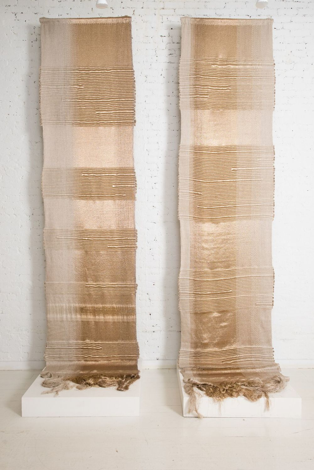 Apollo, Hiroko Takeda, 2015, NY Studio, 192%22h x 36%22w, mixed natural & metallic 4.jpg