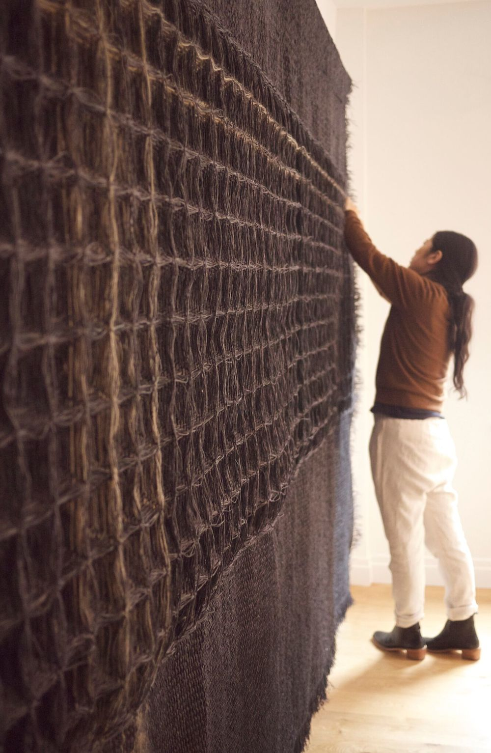Giant Charcoal, Hiroko Takeda, 2015, NY Studio, 86%22h x 156%22w, mixed natural fibers.jpg