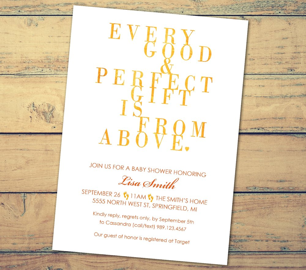 """Every Good and Perfect Gift"" Baby Shower Invitation"