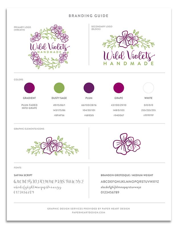 Wild Violets Handmade, Midland MI, branding guide, graphic design, logo, marketing