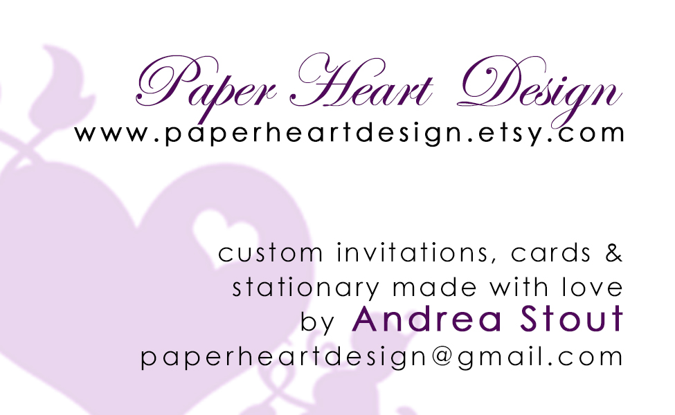 My first business card design. I printed these 12 at a time at home in a variety of colors. I also used my full name, Andrea… so fancy!