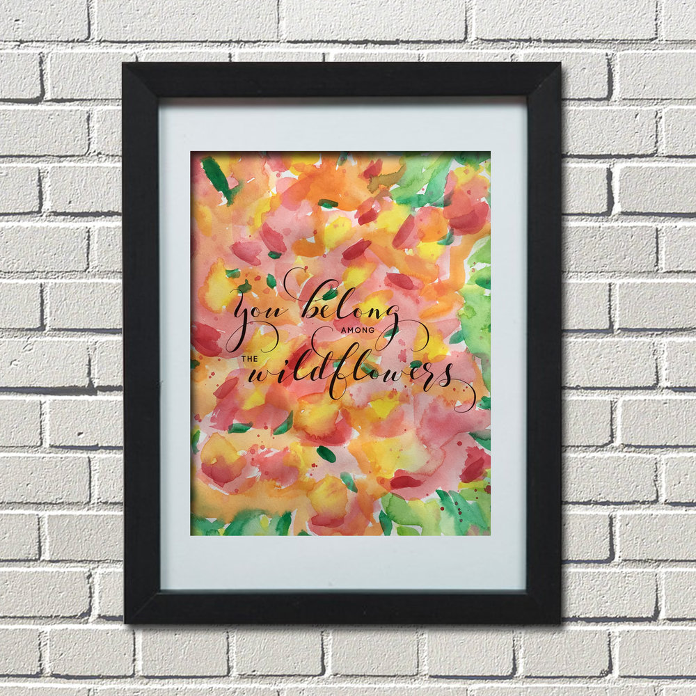 watercolor, Tom Petty, Wildflowers, You belong among the wildflowers, Etsy