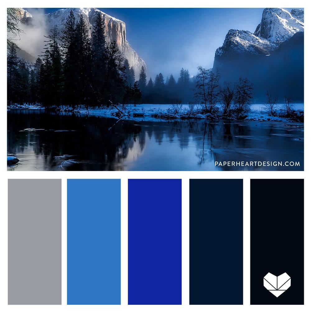 Monochromatic Blue Color Palette. Winter shades of blue.