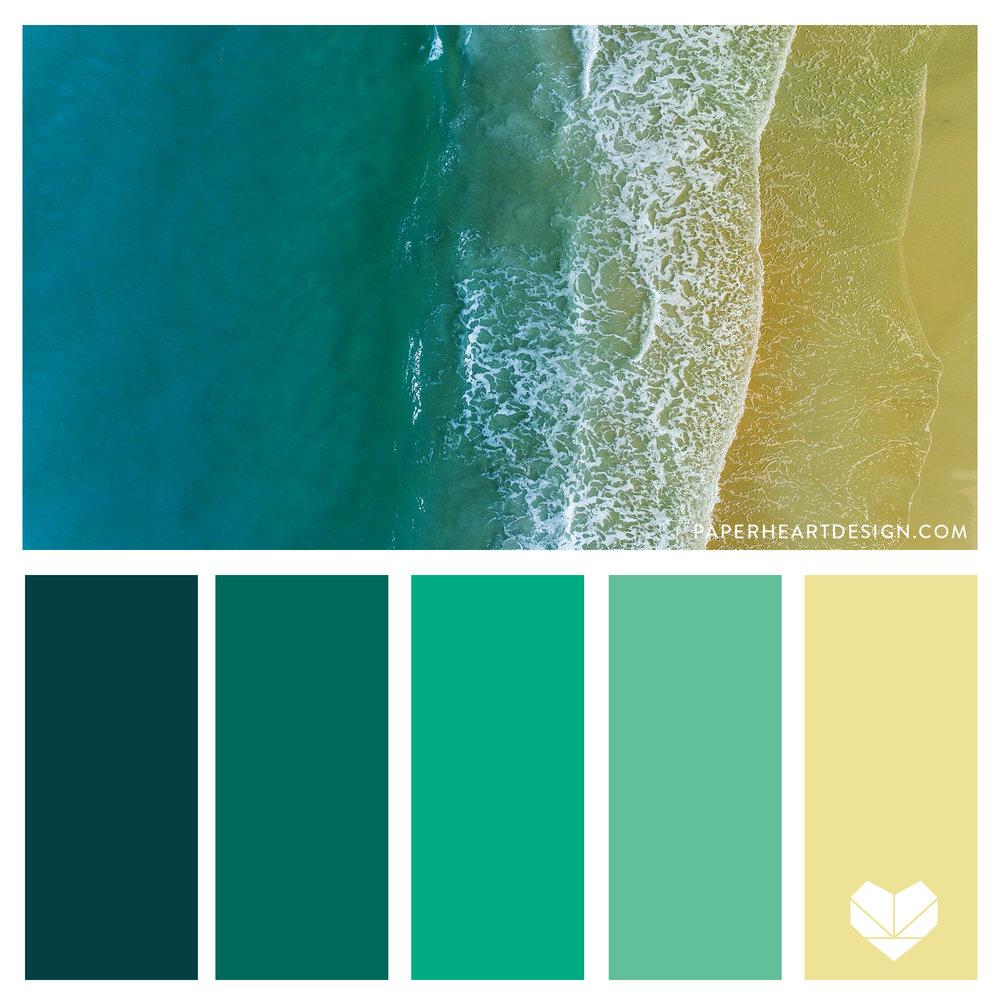 Sand + Surf Jewel tone Color Palette. Teal, Mint, Aqua, Tan. Bold + Elegant.