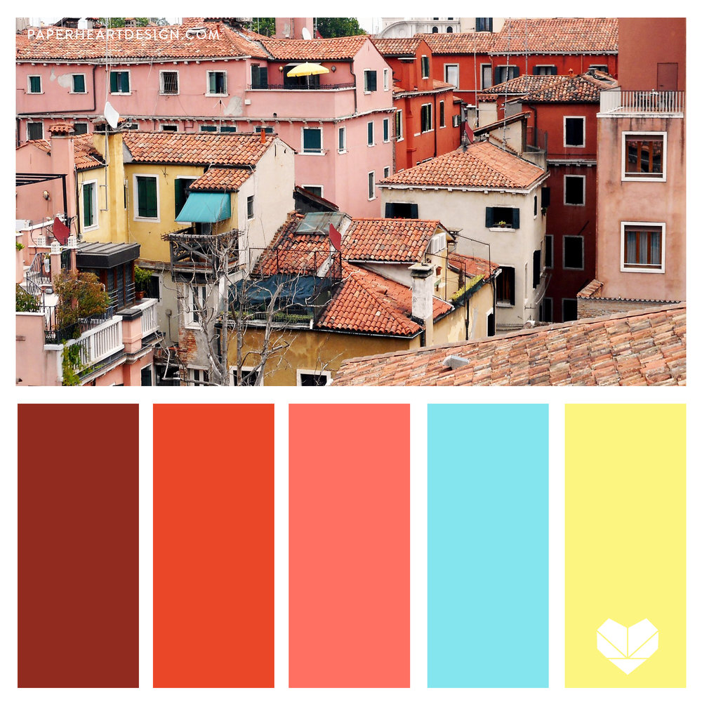 Old City Rooftops, Color Scheme, Coral Pink, Red, Orange, Blue, Festive, Bright, Bold