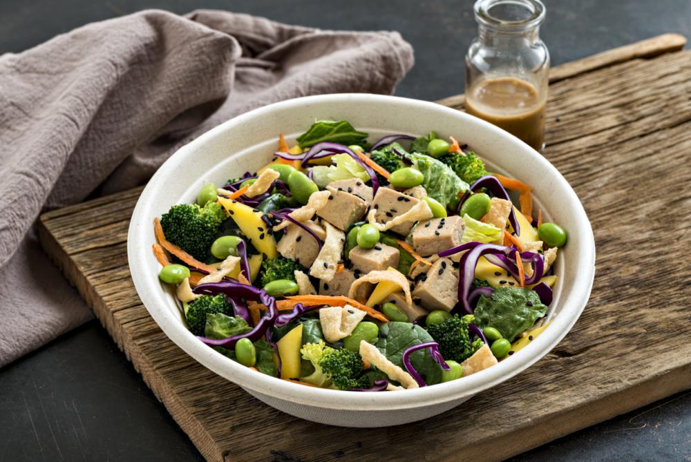 Zen Salad - spinach, romaine, tofu,cabbage, carrots, broccoli, edamame, mango, crispy wontons, sesame seeds and asian sesame dressing.