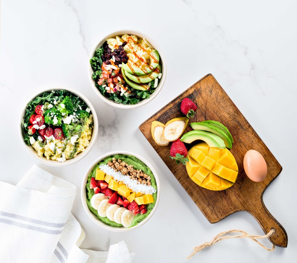 Huevos Bowl - boiled eggs, kale, avocado, jack n cheddar cheese, black beans, pico de gallo and bbq sauce. Egg & Kale Bowl - boiled eggs, kale, feta cheese, broccoli cherry tomato and pesto. Cali Bowl - freshii green smoothie, banana, mango, strawberry, granola and coconut.