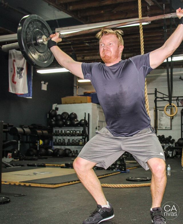 """I think @bennettmillerentertainment makes the best lifting faces. More snatches today!   Don't forget - Tuesday, Thursday and Friday this week are """"beginner friendly"""" so it's a great day to get your friends and family started on their fitness journey and you'll get $25 off your membership next month!   Oh and Saturday is a benchmark WOD - don't miss it!    #snatches #oly #crossfit #crossfitopen #fitness #workout #ridgewood #bushwick #wod #goals #fitnessgoals #wallballs #diet #toning #freetrial #gym #ltrain   📸 @thecanvas_creative"""