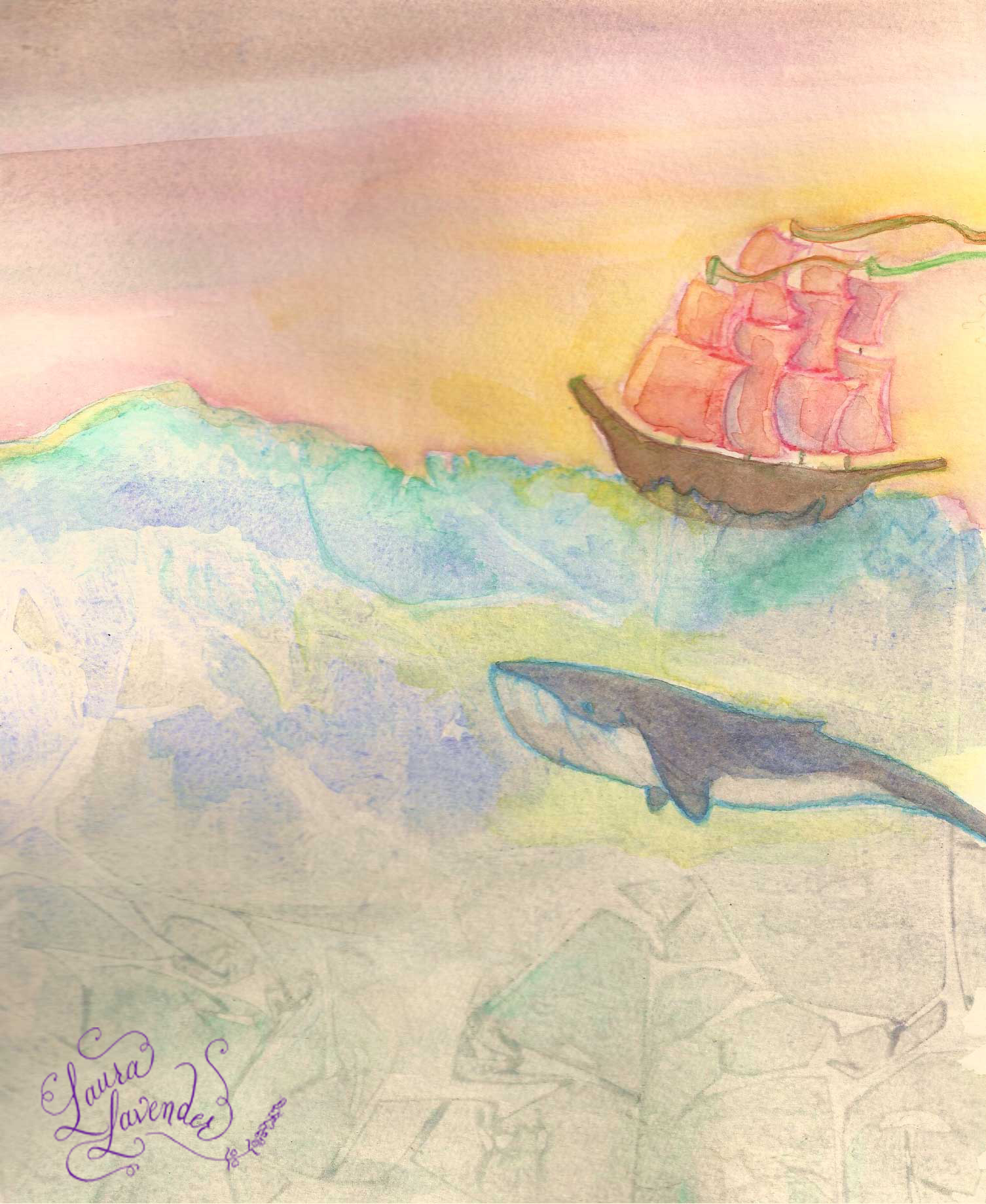 whale sailing ship blue watercolor illustration