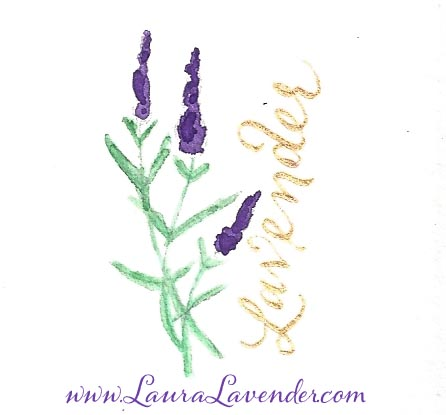 lavender bouquet gold calligraphy