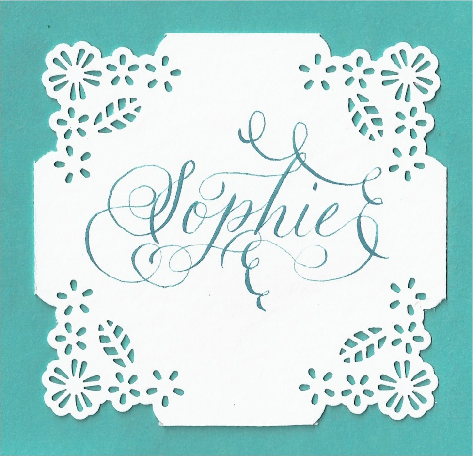 floral placecard calligraphy