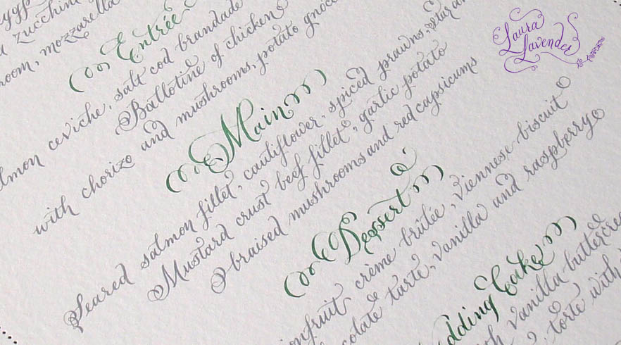 calligraphy menu hand lettering cobblestone foliage grey green