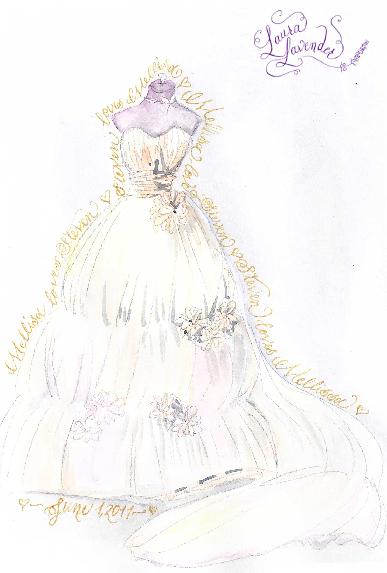 portrait wedding gown dress weddings drawing painting illustration memorabilia watercolor