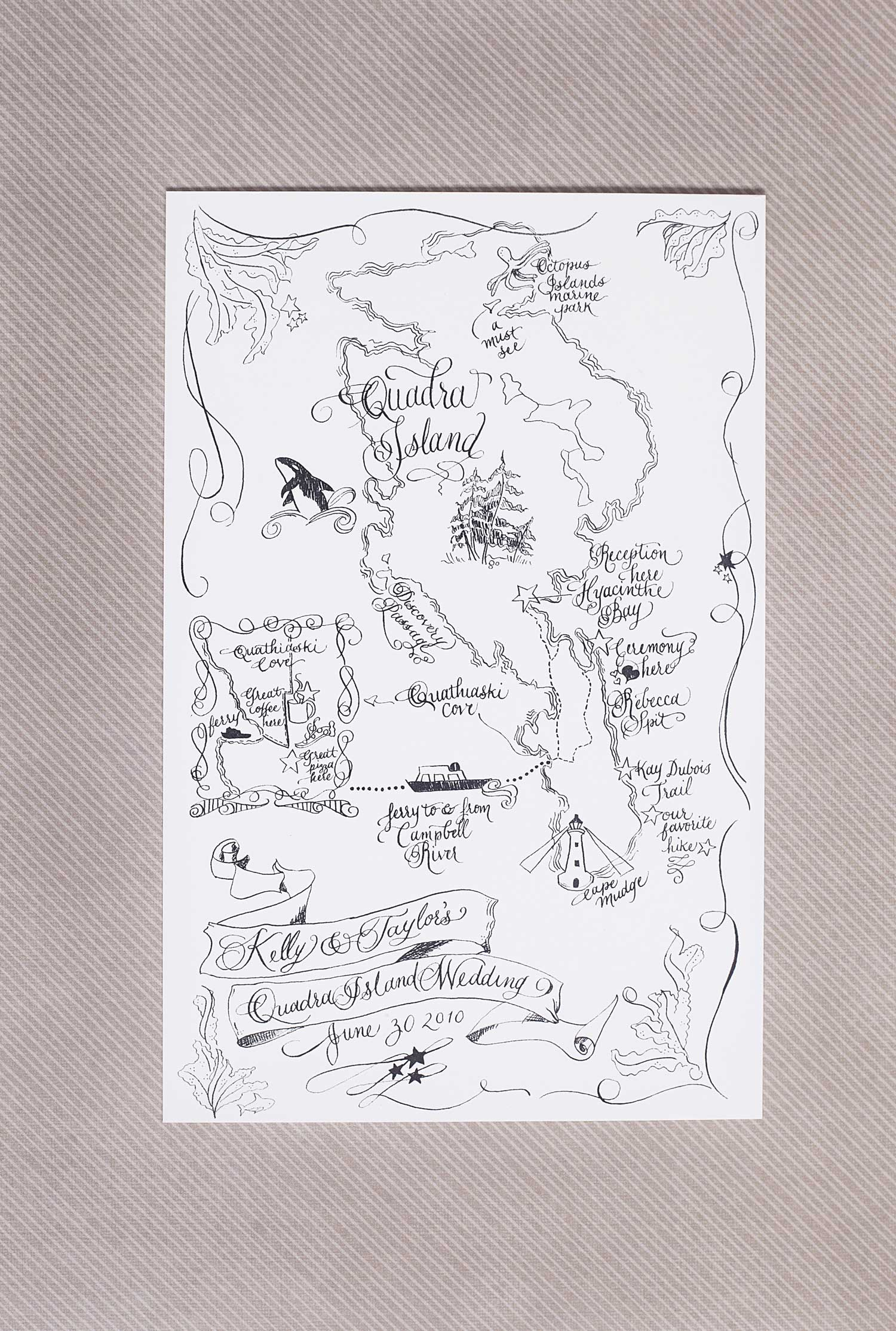 Wedding Map calligraphy illustration hand made hand illustrated weddings directions