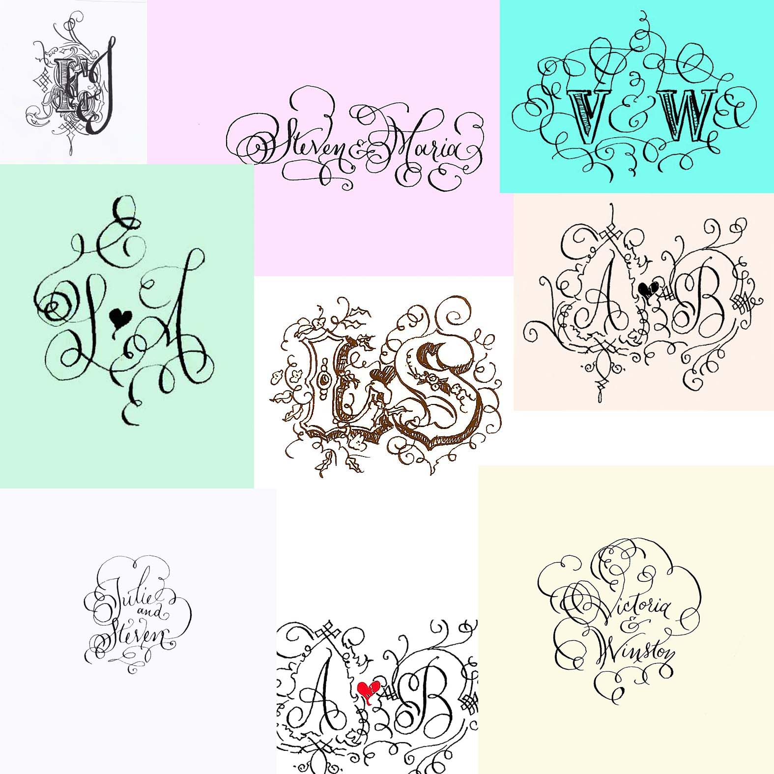 monogram hand lettered calligraphy colorful