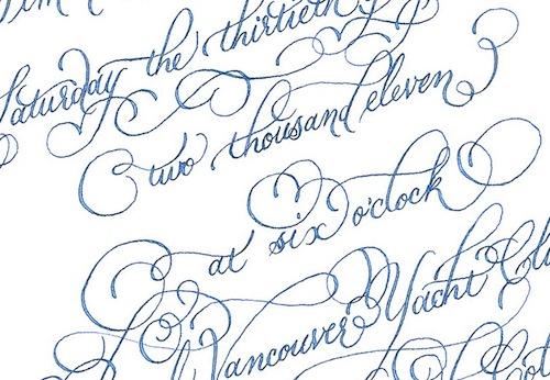 wedding invitation blue calligraphy