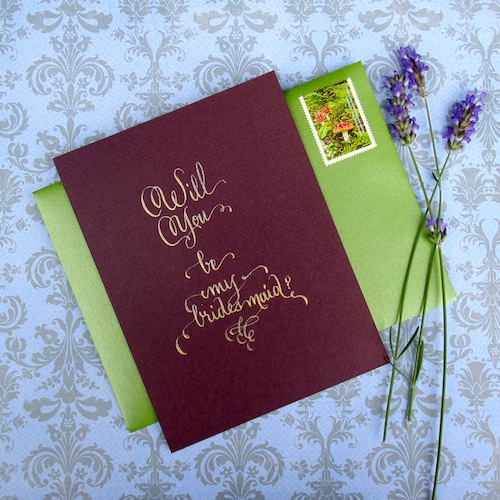 will you be my bridesmaid card gold purple calligraphy