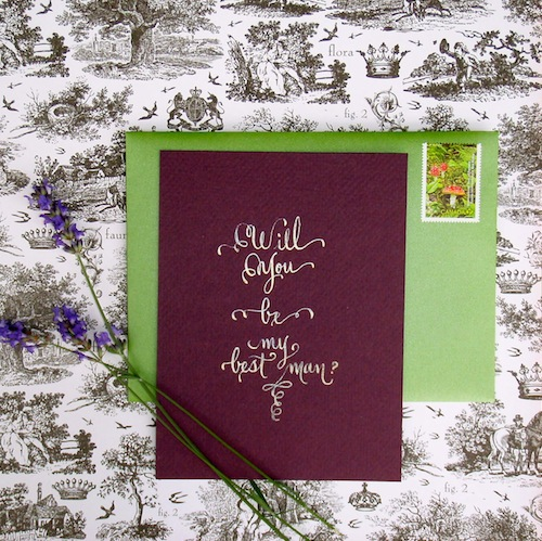 gold will you be my best man ? gold calligraphy on purple