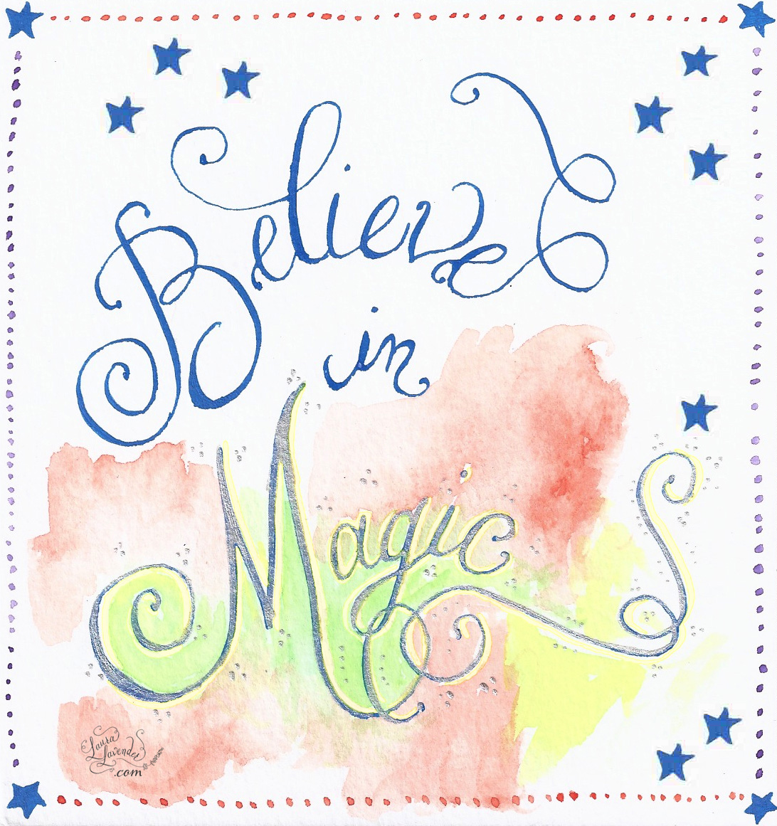 calligraphy hand lettering magic believe in magic watercolor stars