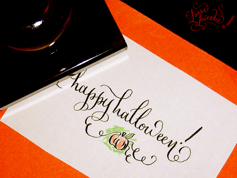 Happy Halloween Rubber Stamp Happy Halloween Rubber Stamp pumpkin leaves calligraphy