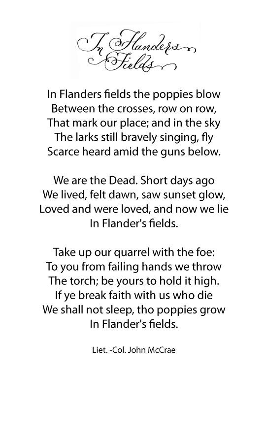 In Flanders Fields Poem Remembrance Day