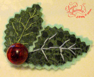 CHRISTMAS HOLLY CORSAGE BROOCH CRAFT