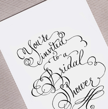 You're invited to a bridal shower calligraphy
