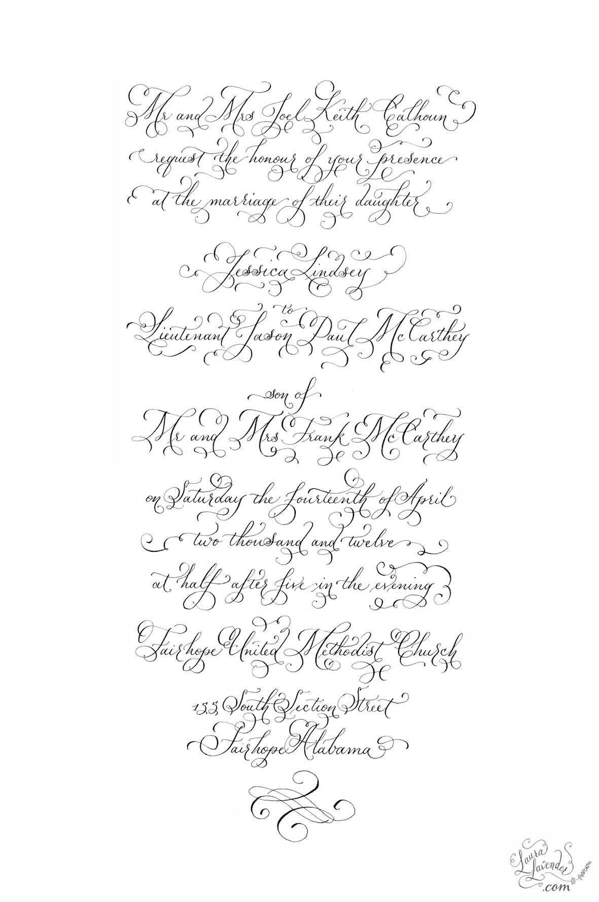 classic formal calligraphy invitation