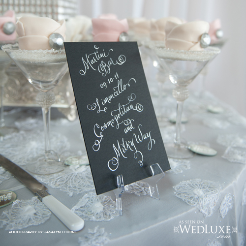 calligraphy wedding sign bar sign signature drink