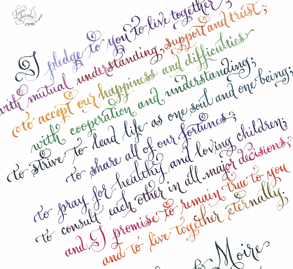 laura lavender calligraphy rainbow calligraphy Wedding vows rainbow