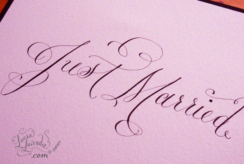 elegant just married photo sign laura lavender calligraphy