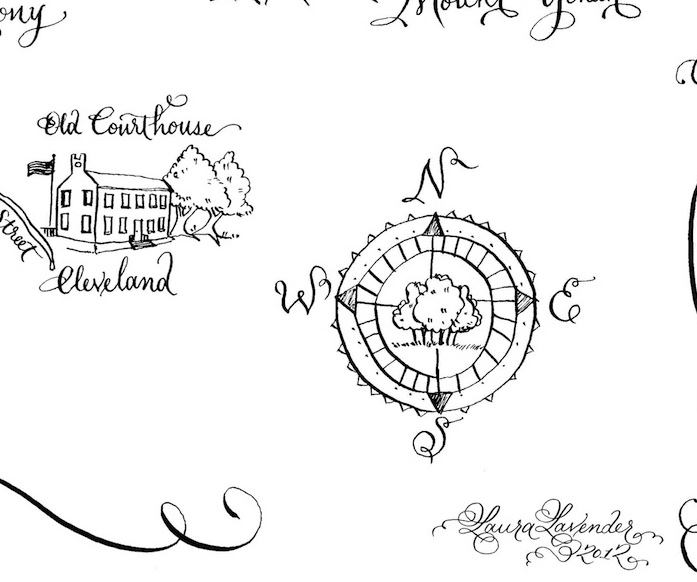 calligraphy wedding map illustration Laura Lavender Calligraphy