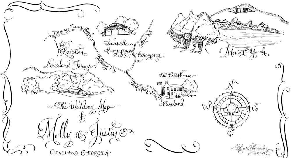 calligraphy wedding map illustration Laura Lavender Calligraphy