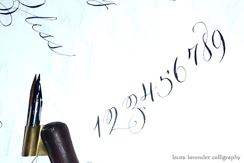 calligraphy numbers laura lavender