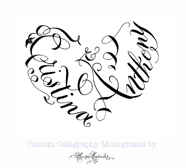 custom calligraphy heart shaped monogram