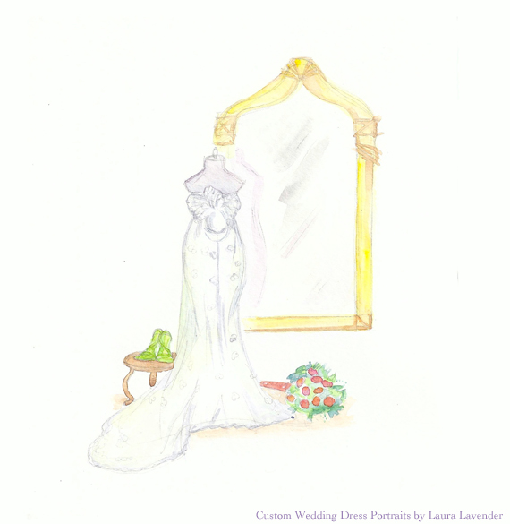 wedding dress portrait PATTI etsy